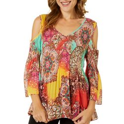 Spense Womens Mixed Print Smocked Cold Shoulder Top