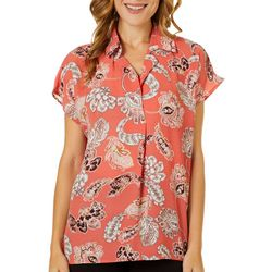 Spense Womens Paisley Print Split Neck Cap Sleeve Top