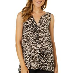 Spense Womens Leopard Print Button Down Sleeveless Top