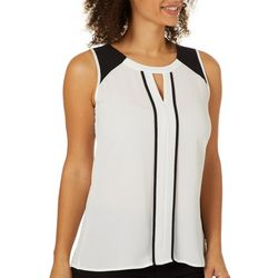 Spense Womens Colorblock Keyhole Sleeveless Top