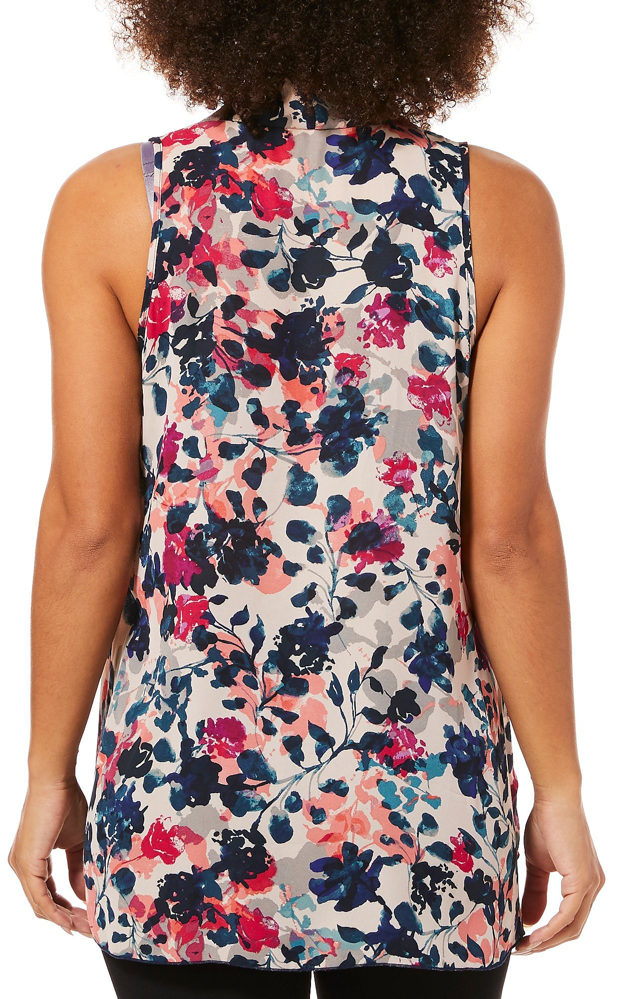 c90f305a56f98 Spense Womens Watercolor Floral High-Low Sleeveless Top