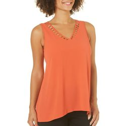 Spense Womens Solid Caged Neck Top