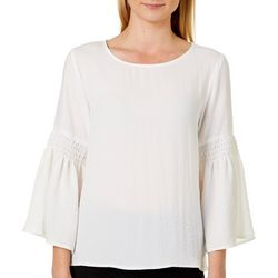 Spense Womens Solid Bubble Crepe Bell Sleeve Top
