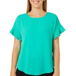 Spense Womens Solid Crepe Ruffle Grommet Sleeve Top