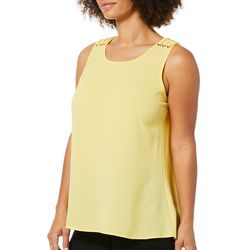 Spense Womens Solid Ladder Shoulder Sleeveless Top