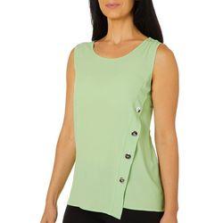 Spense Womens Solid Button Detail Sleeveless Top