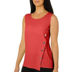 Spense Womens Solid Button Detail Sleeveless Top