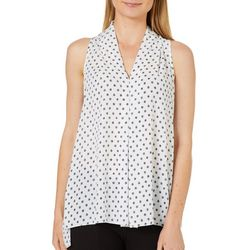 Spense Womens Dotted High-Low Sleeveless Top