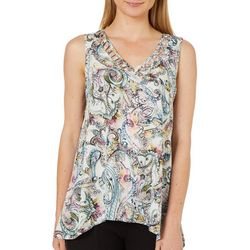 Spense Womens Paisley Print Caged Neck Top