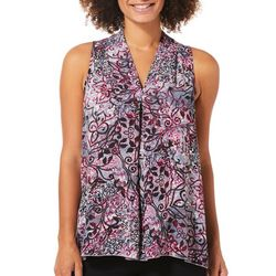 Spense Womens Floral Scroll High-Low Top