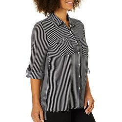 Spense Womens Stripe Button Down Roll Tab Sleeve Top
