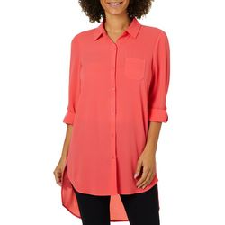 Spense Womens Roll Tab Button Down High-Low Top