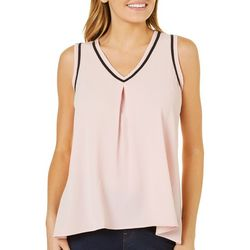 Spense Womens Contrast Trim Sleeveless Top