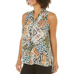 Spense Womens Abstract High-Low Sleeveless Top