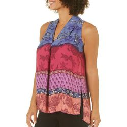Spense Womens Floral Paisley High-Low Sleeveless Top