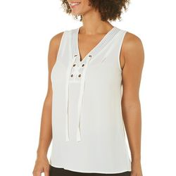 Spense Womens Striped Trim Lace-Up Sleeveless Top