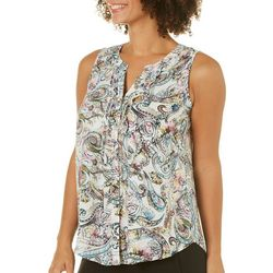 Spense Womens Ruffled Paisley Sleeveless Top
