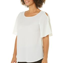 Spense Womens Embellished Pearl Short Sleeve Top