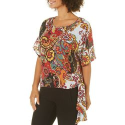 Spense Womens Floral Paisley Side Tie Top