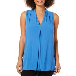 Spense Womens Solid High-Low Sleeveless Top