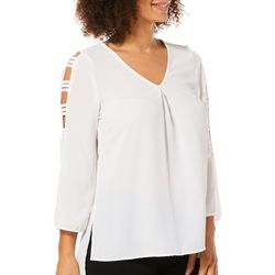 Spense Womens Solid Caged Sleeve Top