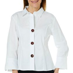 Spense Womens Solid Button Down Top