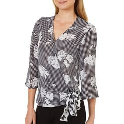 Spense Womens Floral Gingham Wrap Top
