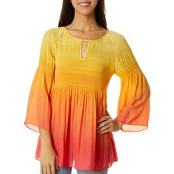 Spense Womens Ombre Print Bell Sleeve Keyhole Top