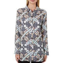 Como Blu Womens Mixed Print Button Down Tunic Top
