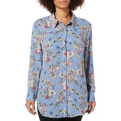 626bef52837 Como Blu Womens Floral Print Button Down Tunic Top