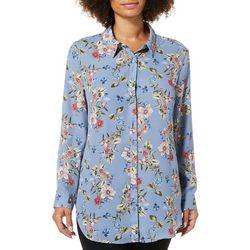 Como Blu Womens Floral Print Button Down Tunic Top