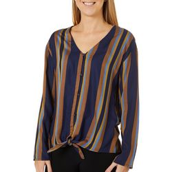 Como Blu Womens Striped Long Sleeve Tie Front Top