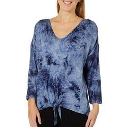 Como Blu Womens Tie Dye Print Tie Front Top