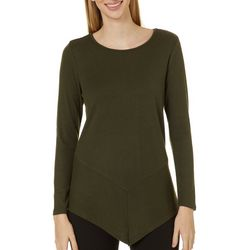 Como Blu Womens Solid Asymmetrical Hem Long Sleeve Top