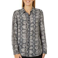 Como Blu Womens Snake Print Long Sleeve High-Low