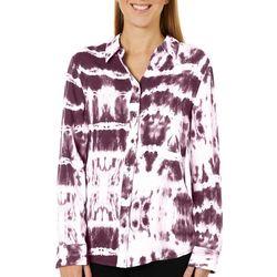 Como Blu Womens Tie Dye Print Long Sleeve High-Low Top