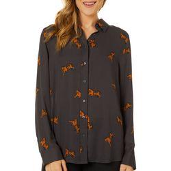 Como Blu Womens Cheetah Print Long Sleeve High-Low Top
