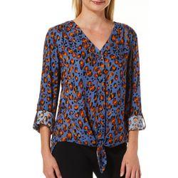 Como Blu Womens Leopard Print Tie Front Top