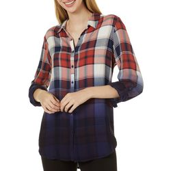 Como Vintage Womens Plaid Button Down Roll Tab Sleeve Top