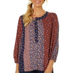 Como Blu Womens Mixed Floral Round Neck Top