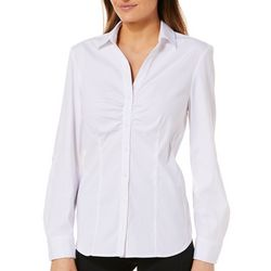 Como Blu Womens Ruched Front Roll Tab Button Down Top