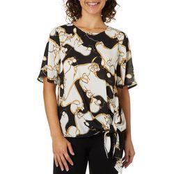 Como Blu Womens Chain Print Short Sleeve Tie Front Top