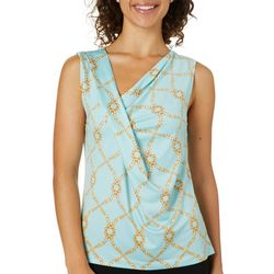 Como Blu Womens Cowl Chain Drape Neck Sleeveless Top