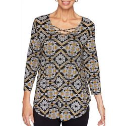 Ruby Road Favorites Womens Mixed Animal Print Top