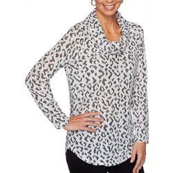 Ruby Road Favorites Womens Leopard Cowl Neck Long Sleeve Top