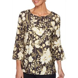 Ruby Road Favorites Womens Striped Floral Embellished Top