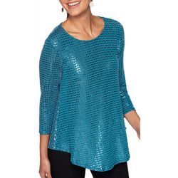 Ruby Road Favorites Womens Foil Sequin Top