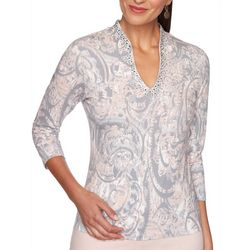 Ruby Road Favorites Womens Embellished Neck Top