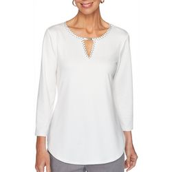 Ruby Road Favorites Womens Embellished Keyhole Knit Top