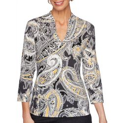 Ruby Road Favorites Womens Paisley Print Funnel Neck Top